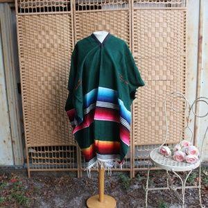 Vintage Mexican Woven Rainbow Serape Fringe Poncho